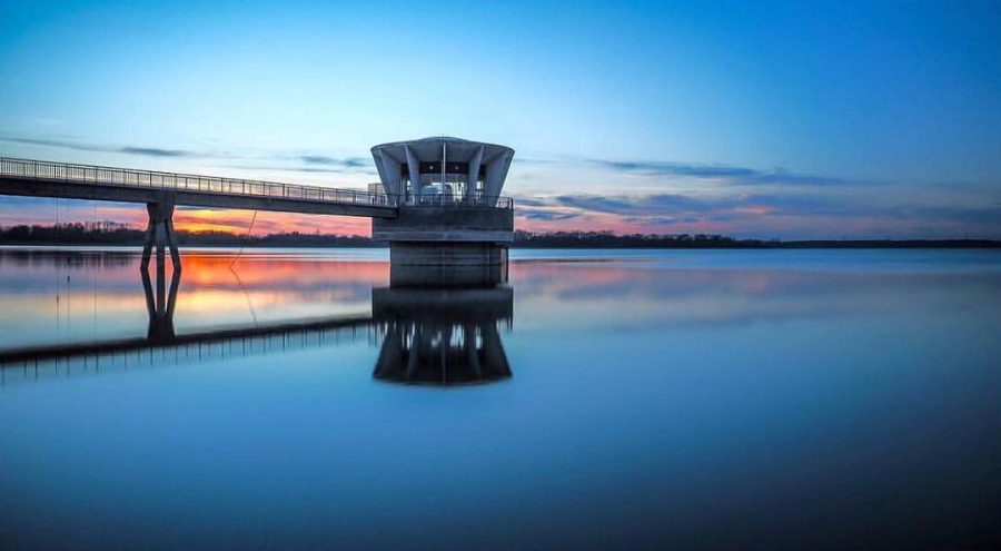 View of Valve Tower at Grafham Water at dusk